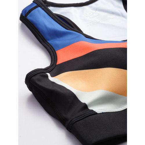 HRX by Hrithik Roshan Black & Blue Colourblocked Rapid Dry Sports Bra HRX-AW19