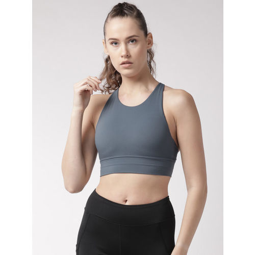 Fitkin Grey Solid Non-Wired Lightly Padded Sports Bra B17