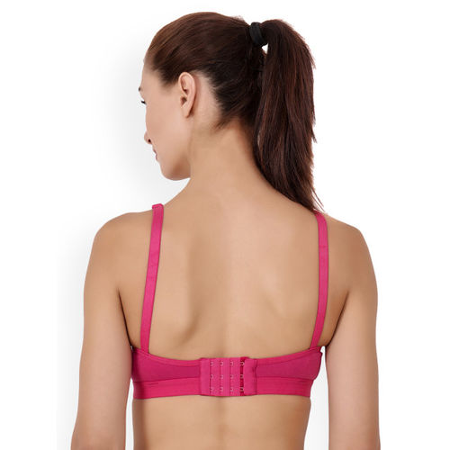 Floret Black & Pink Solid Non-Wired Heavily Padded Sports Bra