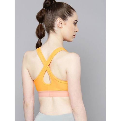 UNDER ARMOUR Yellow Solid Mid Crossback Sports Bra 1307200-492