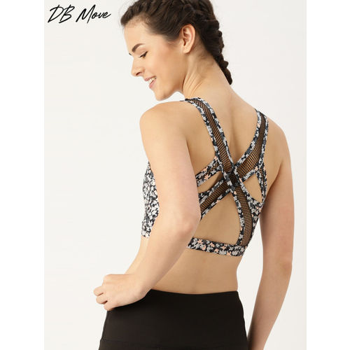 DressBerry Move Black & Grey Printed Non-Wired Lightly Padded Sports Bra