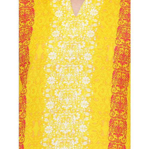 Sera Women Yellow & Red Printed Straight Kurta