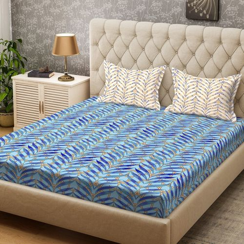Bombay Dyeing 104 TC Cotton Double Printed Bedsheet(Pack of 1, Blue)