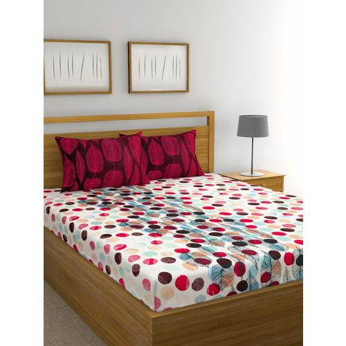 Raymond Home 144 TC Cotton Double Abstract Bedsheet(Pack of 1, Red)