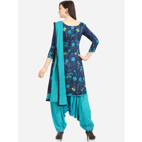 Kvsfab Navy Blue & Sea Green Cotton Blend Unstitched Dress Material