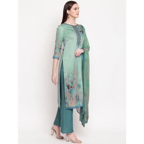 Kvsfab Sea Green Cotton Blend Unstitched Dress Material