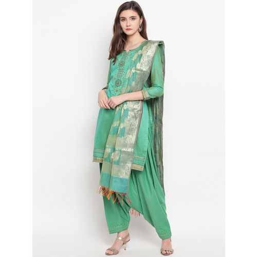 Kvsfab Green Solid Unstitched Dress Material With Embroidered Detail