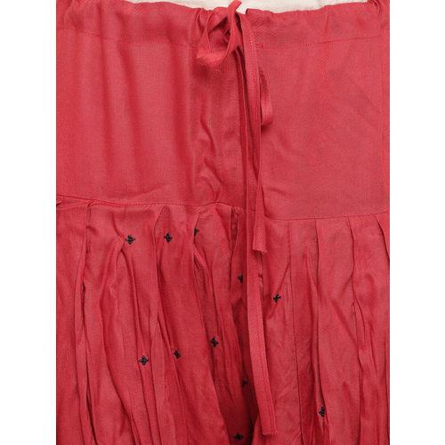 Kvsfab Black & Rust Red Satin Embroidered Unstitched Dress Material