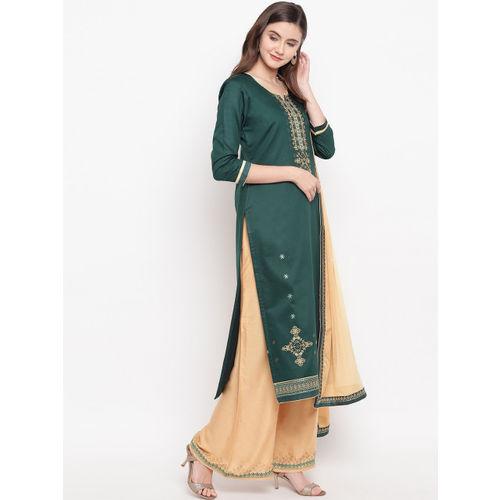 Kvsfab Green & Beige Silk Blend Unstitched Dress Material