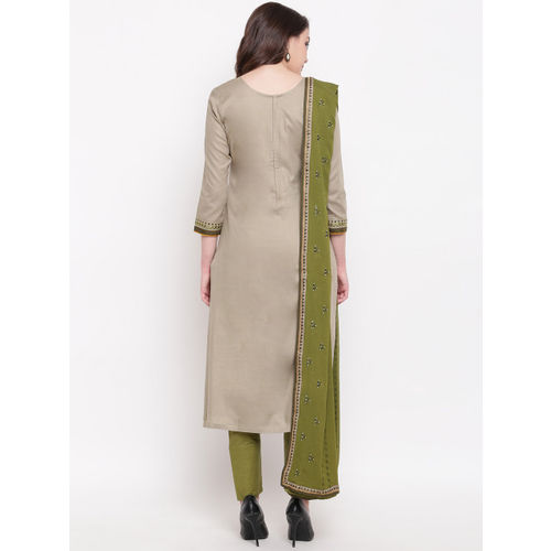 Kvsfab Green & Olive Green Cotton Blend Unstitched Dress Material