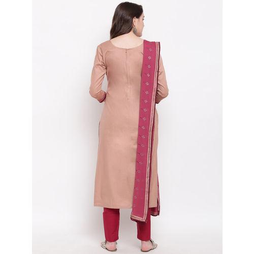 Kvsfab Beige & Magenta Cotton Blend Unstitched Dress Material
