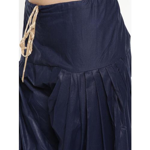Rajnandini Beige & Navy Blue Cotton Blend Unstitched Dress Material