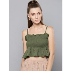 Trend Arrest smocked detail solid crop top