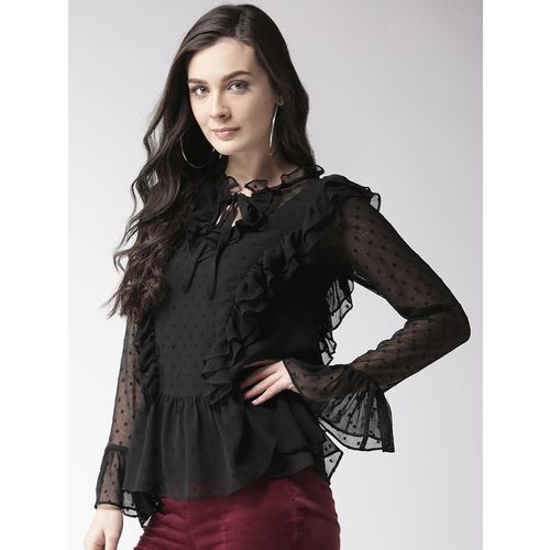 Antheaa tie knot bell sleeved ruffle top
