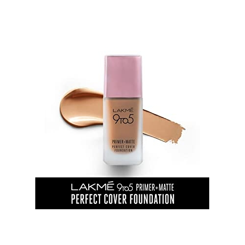 Lakme 9To5 Primer + Matte Perfect Cover Foundation(C100 Cool Ivory, 25 ml)