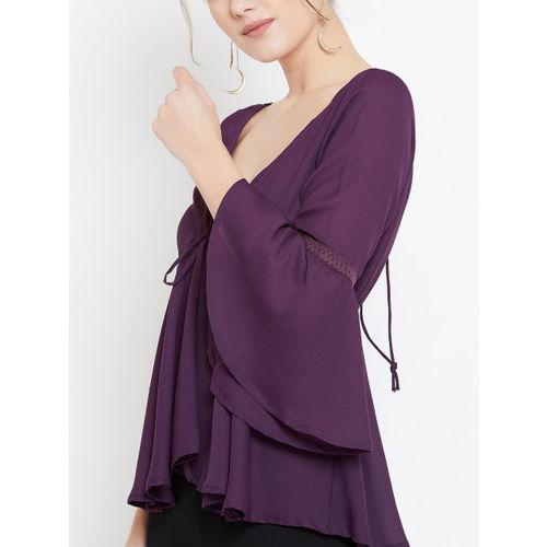 U&F Women Purple Solid Cinched Waist Top