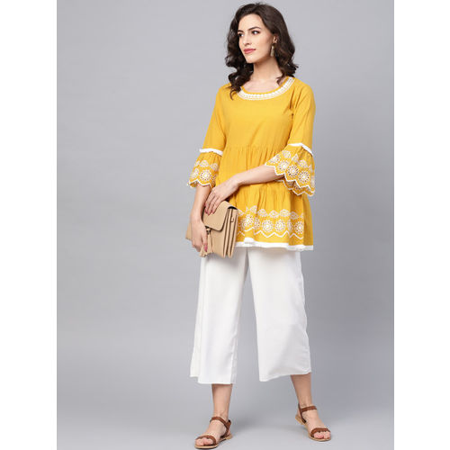 Bhama Couture Women Mustard Yellow & White Solid Tiered Top