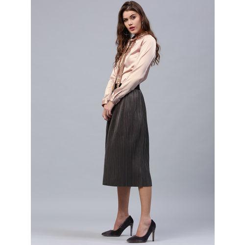 SASSAFRAS Women Peach-Coloured Satin Finish Solid Shirt Style Top