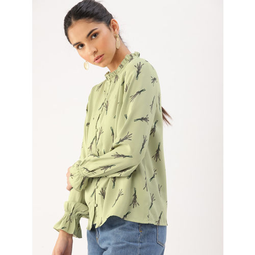 DressBerry Women Olive Green Printed Shirt Style Top