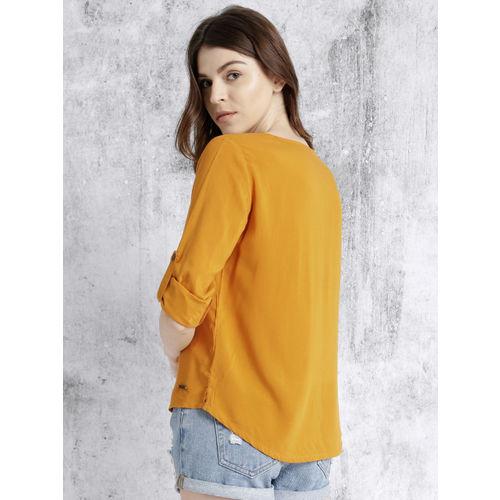 Roadster Women Mustard Yellow Solid High-Low Top