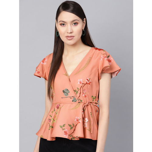SASSAFRAS Women Peach-Coloured Floral Printed Wrap Top