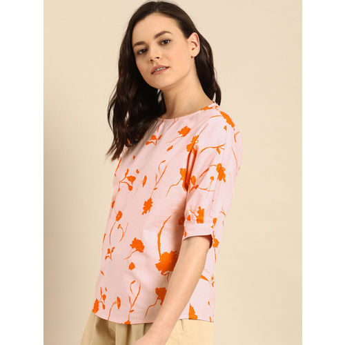 ether Women Pink & Orange Floral Print Top