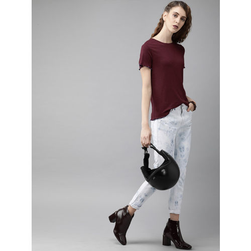 Roadster Women Burgundy Solid Top With Lettuce Edge Detail