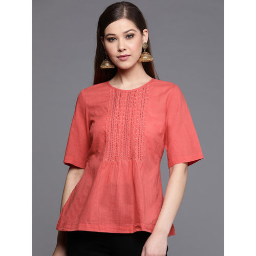 Fabindia Women Coral Pink Embroidered Detail A-Line Top