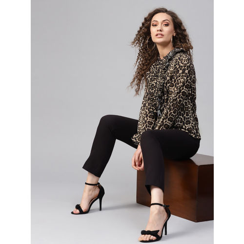 SASSAFRAS Women Beige & Black Animal Print Shirt Style Top