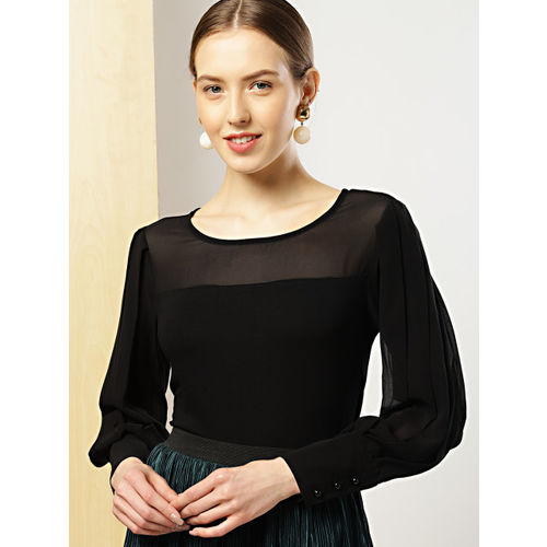 her by invictus Women Black Solid Semi-Sheer Top