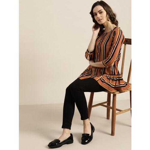 Sangria Women Rust Orange & Coffee Brown Striped A-Line Top