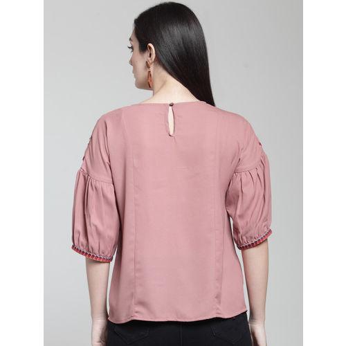 plusS Women Pink Solid A-Line Top