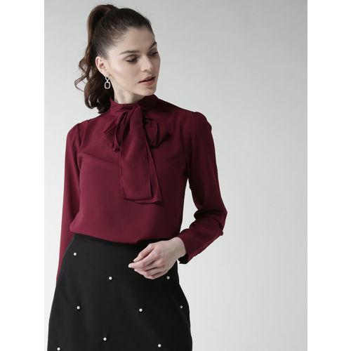 20Dresses Women Maroon Solid Top with Tie-up
