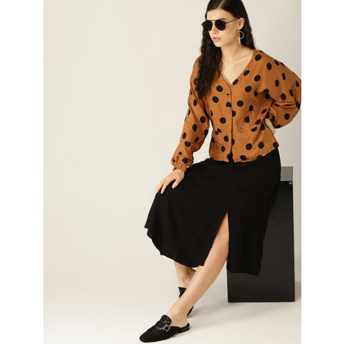 MANGO Women Mustard Brown & Black Polka Dot Print Top