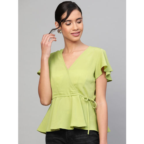 SASSAFRAS Women Green Solid Wrap Top