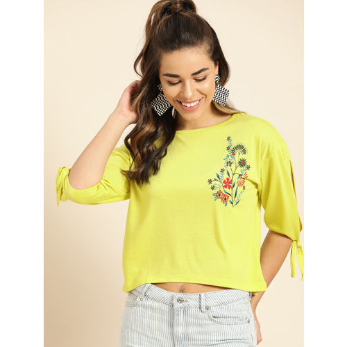 DressBerry Women Lime Green Printed Detail Crop Top