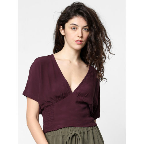 ONLY Women Burgundy Solid Cinched Waist Top