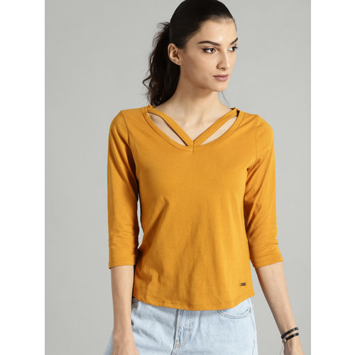 Roadster Women Mustard Yellow Solid Styled Back Top