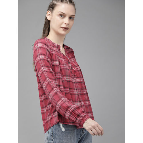 Roadster Women Pink & Black Checked Top With Smocked Yoke