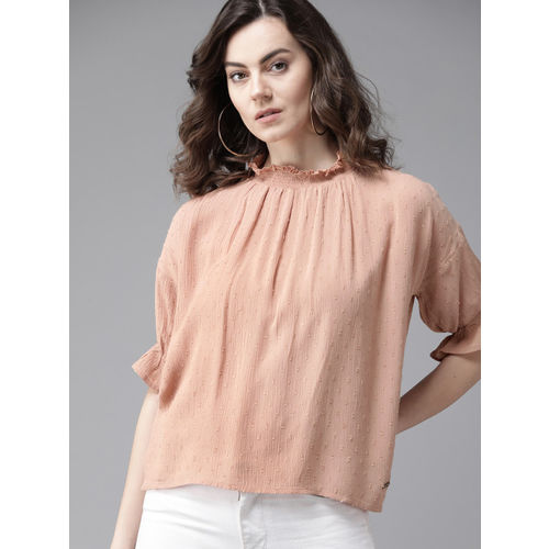 Roadster Women Dusty Pink Self Design Top