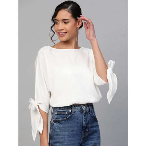 SASSAFRAS Women White Solid Blouson Top