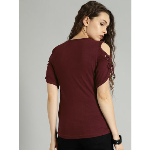 Roadster Women Maroon Printed Top