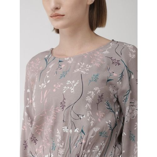 Marks & Spencer Women Grey & Green Printed Cinched Waist Top