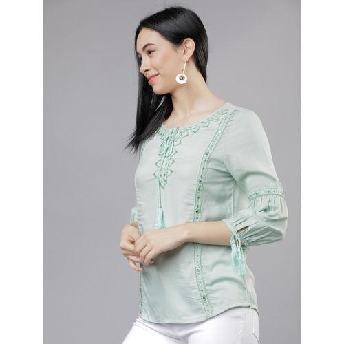 Vishudh Women Green Solid Top