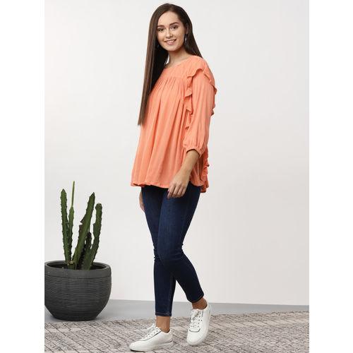 Sangria Women Peach-Coloured Solid A-Line Top