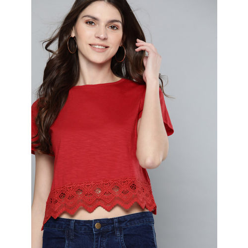 Mast & Harbour Women Red Solid Top with Lace Detail