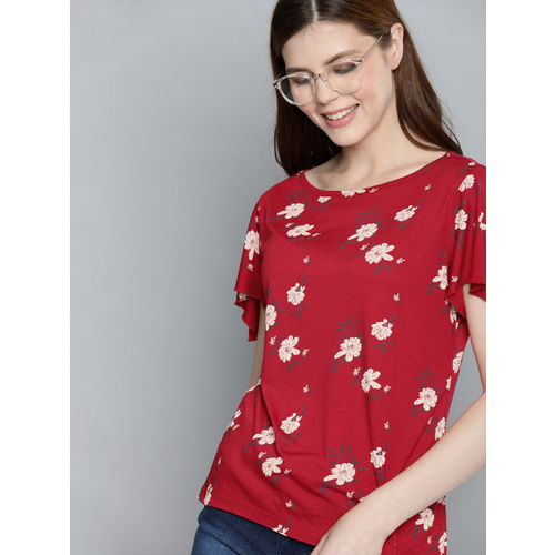 Mast & Harbour Women Red & Off-White Floral Printed Top