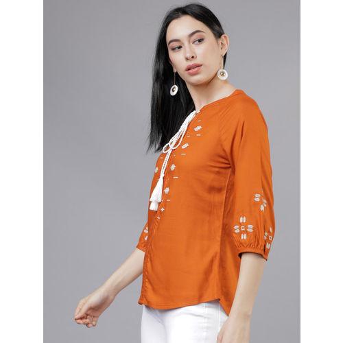 Tokyo Talkies Women Rust Orange Embroidered Top