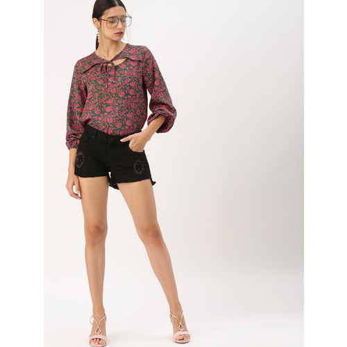 DressBerry Women Olive green & Pink Printed Top
