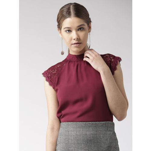 20Dresses Women Burgundy Solid A-Line Top